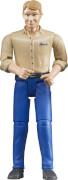 Bruder 60006 Mann mit hellem Hauttyp / blauer Hose, ab 3 Jahren, Maße: 12,7 x 5,1 x 5,1 cm